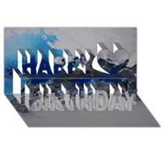 Blue Abstract No 4 Happy Birthday 3d Greeting Card (8x4)  by timelessartoncanvas