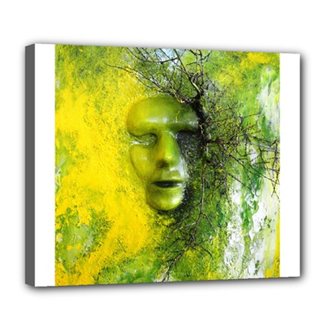 Green Mask Deluxe Canvas 24  X 20   by timelessartoncanvas