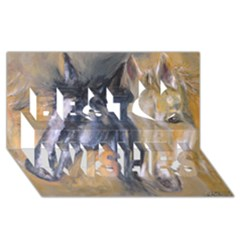 2 Horses Best Wish 3d Greeting Card (8x4)  by timelessartoncanvas