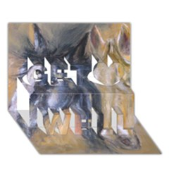 2 Horses Get Well 3d Greeting Card (7x5)  by timelessartoncanvas