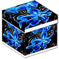 Bright Blue Abstract Flowers Storage Stool 12   by timelessartoncanvas
