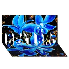 Bright Blue Abstract Flowers Best Bro 3d Greeting Card (8x4)  by timelessartoncanvas