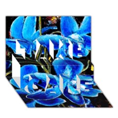 Bright Blue Abstract Flowers Take Care 3d Greeting Card (7x5)  by timelessartoncanvas