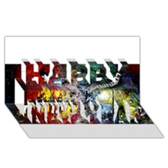 Abstract Music Painting Happy New Year 3d Greeting Card (8x4)  by timelessartoncanvas