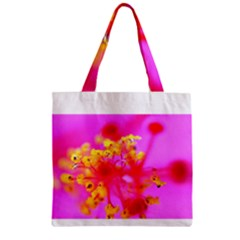 Bright Pink Hibiscus 2 Zipper Grocery Tote Bags by timelessartoncanvas