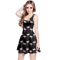 Pink Flamingo Pattern On Black  Reversible Sleeveless Dresses by CrypticFragmentsColors