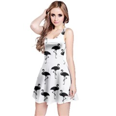 Flamingo Pattern Black On White Reversible Sleeveless Dresses
