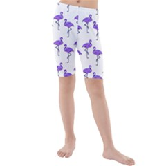 Flamingo Neon Purple Tropical Birds Kid s swimwear