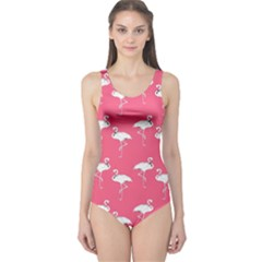 Flamingo White On Pink Pattern Women s One Piece Swimsuits by CrypticFragmentsColors
