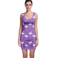 Flamingo White On Lavender Pattern Bodycon Dresses by CrypticFragmentsColors