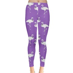 Flamingo White On Lavender Pattern Women s Leggings by CrypticFragmentsColors