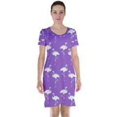 Flamingo White On Lavender Pattern Short Sleeve Nightdresses by CrypticFragmentsColors