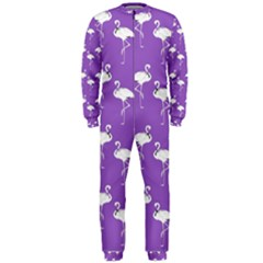 Flamingo White On Lavender Pattern Onepiece Jumpsuit (men)  by CrypticFragmentsColors