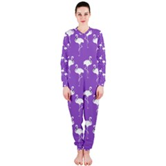Flamingo White On Lavender Pattern Onepiece Jumpsuit (ladies)