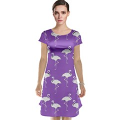 Flamingo White On Lavender Pattern Cap Sleeve Nightdresses by CrypticFragmentsColors