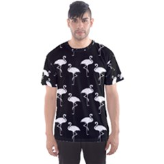Flamingo Pattern White On Black  Men s Sport Mesh Tees by CrypticFragmentsColors