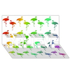 Flamingo Pattern Rainbow  BELIEVE 3D Greeting Card (8x4)  by CrypticFragmentsColors