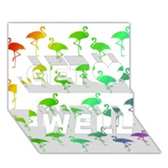 Flamingo Pattern Rainbow  Get Well 3d Greeting Card (7x5)  by CrypticFragmentsColors