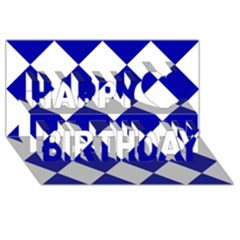Harlequin Diamond Pattern Cobalt Blue White Happy Birthday 3d Greeting Card (8x4)  by CrypticFragmentsColors