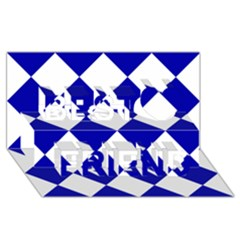Harlequin Diamond Pattern Cobalt Blue White Best Friends 3d Greeting Card (8x4)  by CrypticFragmentsColors