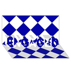 Harlequin Diamond Pattern Cobalt Blue White Engaged 3d Greeting Card (8x4)  by CrypticFragmentsColors