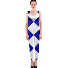 Harlequin Diamond Pattern Cobalt Blue White Onepiece Catsuits by CrypticFragmentsColors