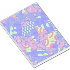 Girls Bright Pastel Abstract Blue Pink Green Large Memo Pads by CrypticFragmentsColors