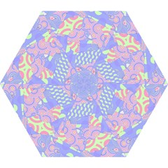 Girls Bright Pastel Abstract Blue Pink Green Mini Folding Umbrella by CrypticFragmentsColors