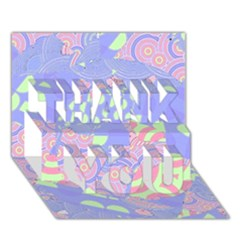 Girls Bright Pastel Abstract Blue Pink Green Thank You 3d Greeting Card (7x5) by CrypticFragmentsColors