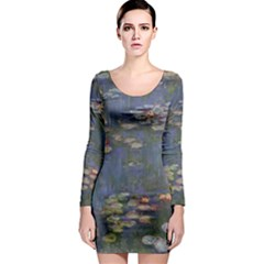 Claude Monet   Water Lilies Long Sleeve Bodycon Dresses