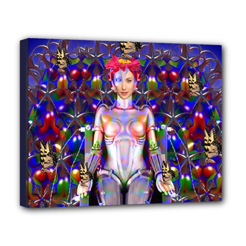 Robot Butterfly Deluxe Canvas 20  X 16   by icarusismartdesigns
