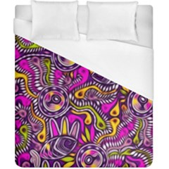 Purple Tribal Abstract Fish Duvet Cover Single Side (double Size) by KirstenStar