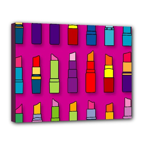Lipsticks Pattern Canvas 14  X 11  by theimagezone