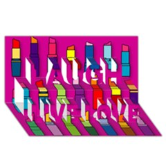 Lipsticks Pattern Laugh Live Love 3d Greeting Card (8x4)  by theimagezone