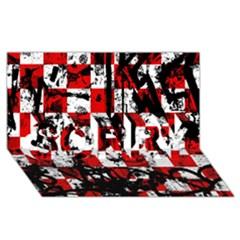Emo Checker Graffiti Sorry 3d Greeting Card (8x4)  by ArtistRoseanneJones