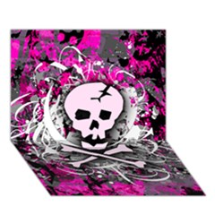 Pink Skull Splatter Circle 3d Greeting Card (7x5)  by ArtistRoseanneJones