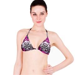 Pink Skull Splatter Bikini Tops by ArtistRoseanneJones