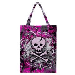 Pink Skull Splatter Classic Tote Bags by ArtistRoseanneJones