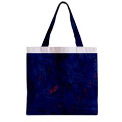 Blue Sphere Zipper Grocery Tote Bags by InsanityExpressed