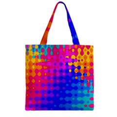 Totally Trippy Hippy Rainbow Zipper Grocery Tote Bags