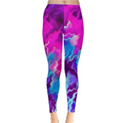 Stormy Pink Purple Teal Artwork Women s Leggings by KirstenStar