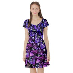 Blue purple Glass Short Sleeve Skater Dress by KirstenStarFashion