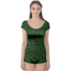 Green Moss Short Sleeve Leotard by InsanityExpressed