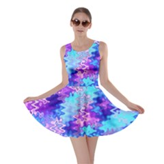 Blue And Purple Marble Waves Skater Dresses by KirstenStarFashion
