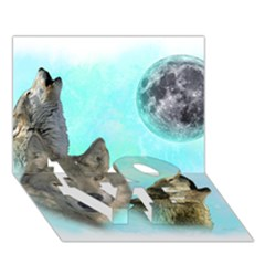Wolves Shiney Grim Moon 3000 Love Bottom 3d Greeting Card (7x5)