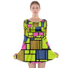 Squares and rectangles Long Sleeve Skater Dress by LalyLauraFLM