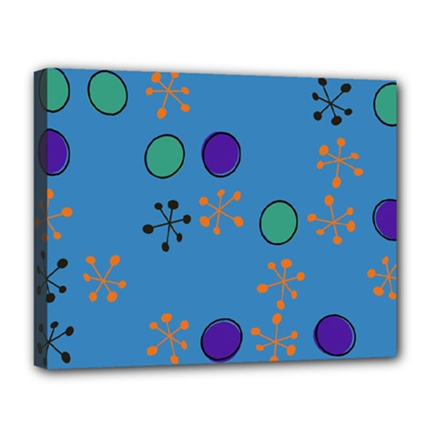 Circles And Snowflakes Canvas 14  X 11  (stretched) by LalyLauraFLM