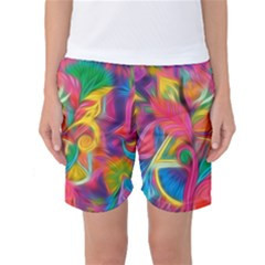 Colorful Floral Abstract Painting Women s Basketball Shorts by KirstenStarFashion