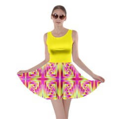 Pink And Yellow Rave Pattern Skater Dress