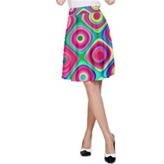 Psychedelic Checker Board A Line Skirts by KirstenStarFashion